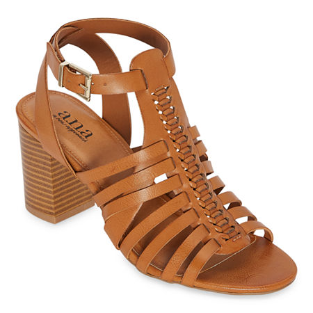 a.n.a Womens Slithery Heeled Sandals, 8 1/2 Medium, Brown
