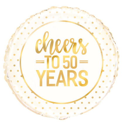 Gold Round Foil Balloon Cheers to 50 Years 18