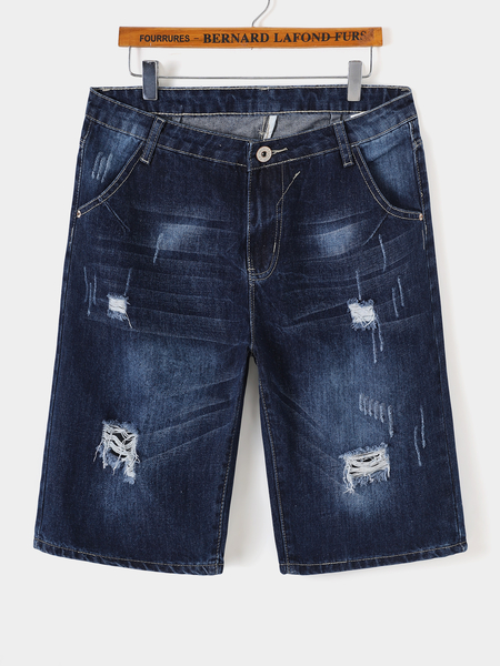 Yoins Men Summer Casual Ripped Straight Denim Shorts Jeans