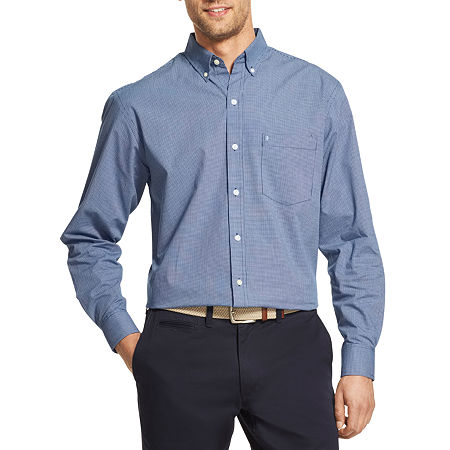 IZOD Mens Long Sleeve Plaid Button-Down Shirt, Small , Blue