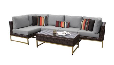 Barcelona BARCELONA-06q-GLD-GREY 6-Piece Patio Set 06q with 2 Corner Chairs  3 Armless Chairs and 1 Coffee Table - Beige and Grey Covers with Gold