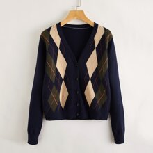 Argyle Button Front Cardigan