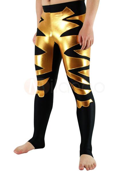 Milanoo Disfraz Halloween Spandex negro de Lycra Wrestling inferior con oro brillante patron metalico Halloween