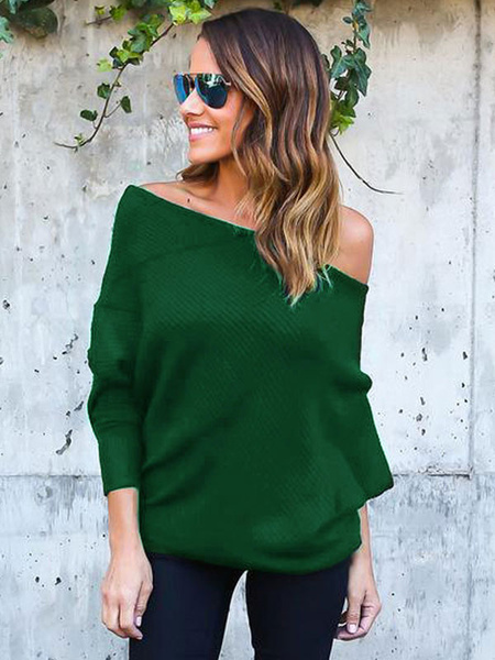 Milanoo Women Pullover Sweater Long Sleeve Convertible Off The Shoulder Knitwear