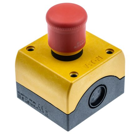 Eaton Surface Mount Round Head Emergency Button - NO/NC, Pull to Reset, 38mm, Red/Yellow/Black