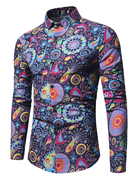 Milanoo Men Casual Shirt Floral Printed Shirt Turndown Collar Long Sleeve Cotton Shirt