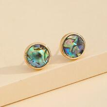 Abalone Shell Decor Stud Earrings