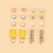 9pairs Faux Pearl Star Earrings Set