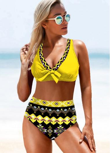 Sexy Bikinis High Waist Yellow Tribal Print Bikini Set - M