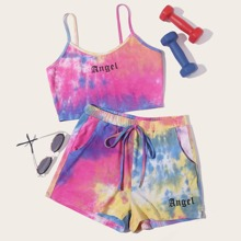 Cami Top mit Buchstaben Grafik, Batik & Shorts Set