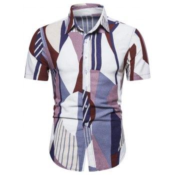 Geometric Stripes Print Button Shirt