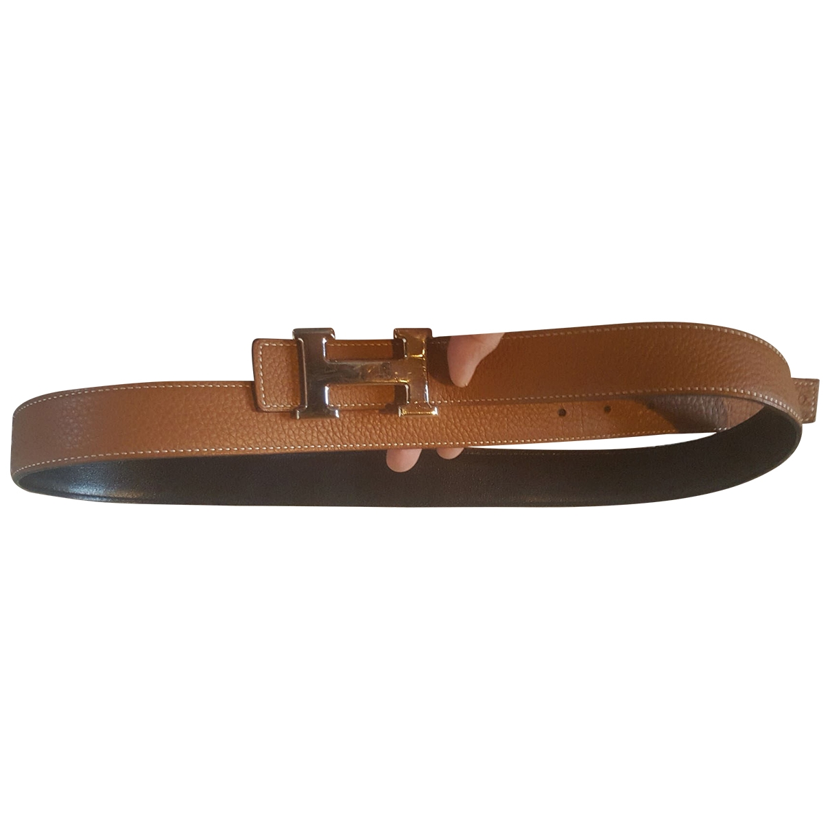 Hermès H Brown Leather belt for Women 95 cm