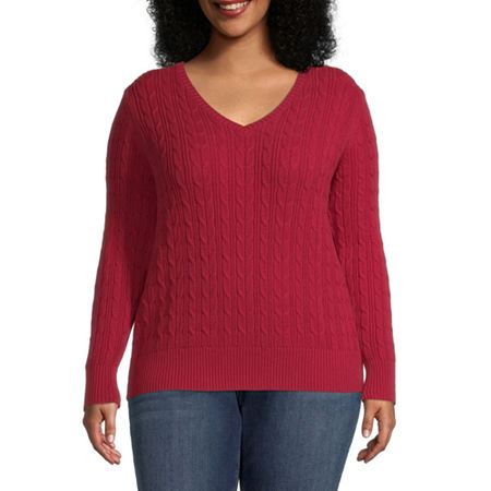 St. John's Bay-Plus Cable Womens V Neck Long Sleeve Pullover Sweater, 3x , Red