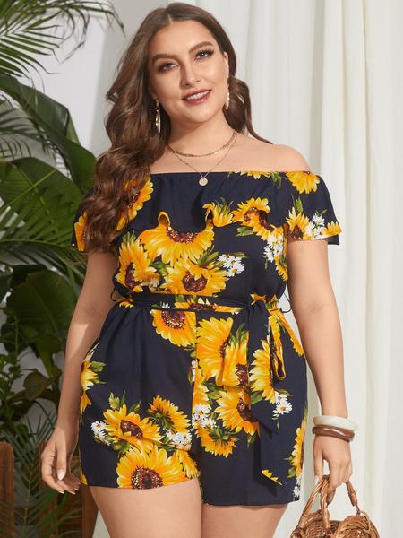 YOINS Plus Size Off The Shoulder Floral Print Belt design Short Sleeves Playsuit