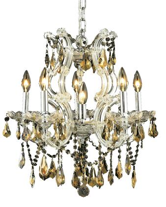 2801D20C-GT/SS 2801 Maria Theresa Collection Hanging Fixture D20in H25in Lt: 5+1 Chrome Finish (Swarovski Strass/Elements Golden