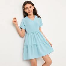 Girls V Neck Batwing Sleeve Flounce Hem Dress