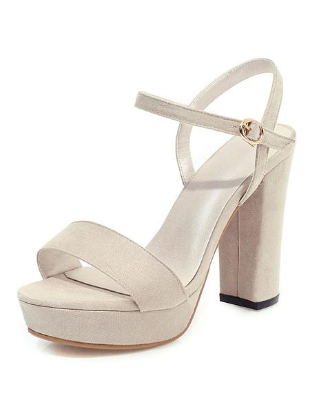 Milanoo Platform High Heel Sandals Womens Open Toe Slingback Chunky Heel Sandals