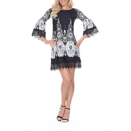 White Mark Mya 3/4 Sleeve Paisley Sheath Dress, Large , Black