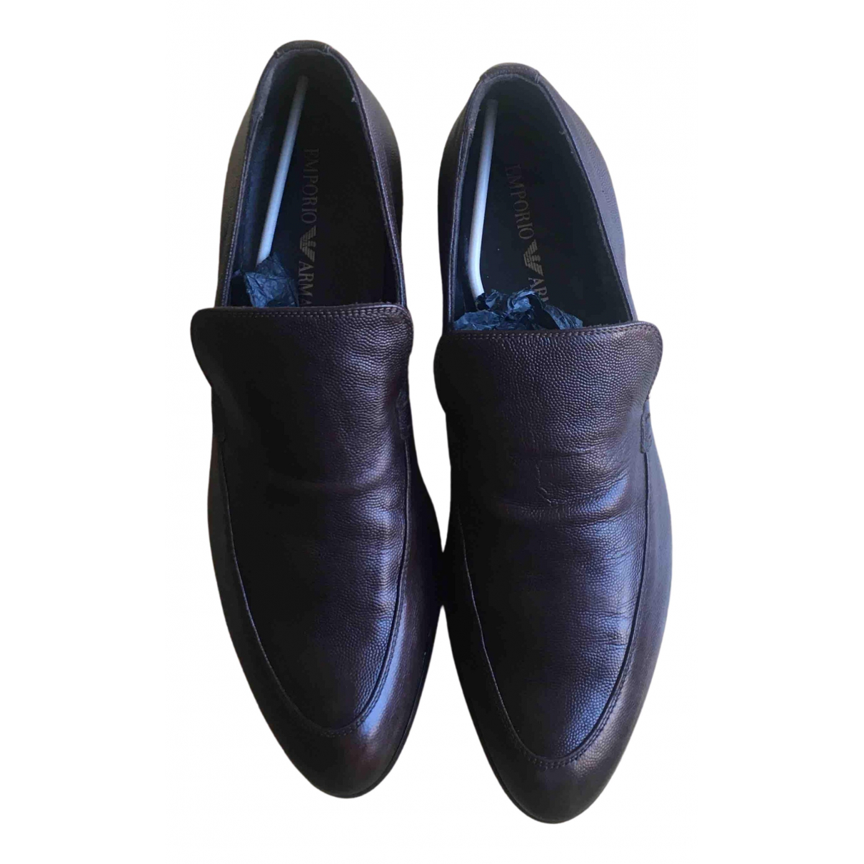 Emporio Armani N Brown Leather Flats for Men 43 EU