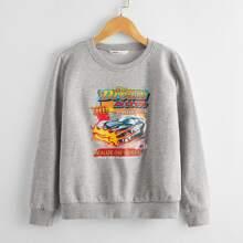 Pullover mit Buchstaben & Auto Muster