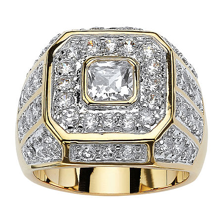 Mens 2 1/3 CT. T.W. White Cubic Zirconia 14K Gold Over Brass Fashion Ring, 11 , No Color Family