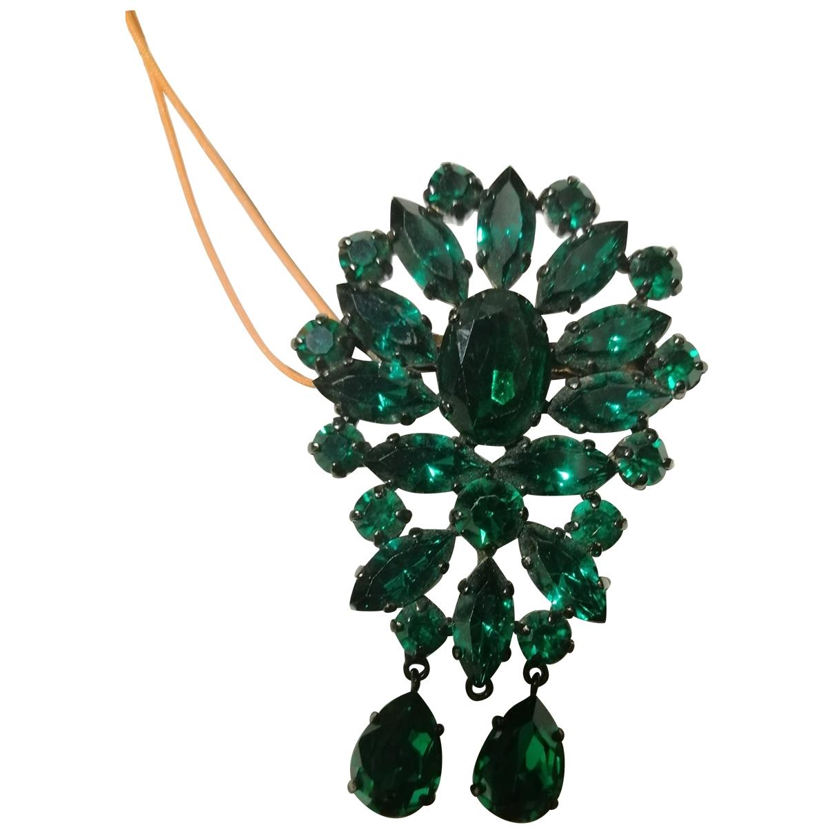 - Broche   pour femme en cristal - vert