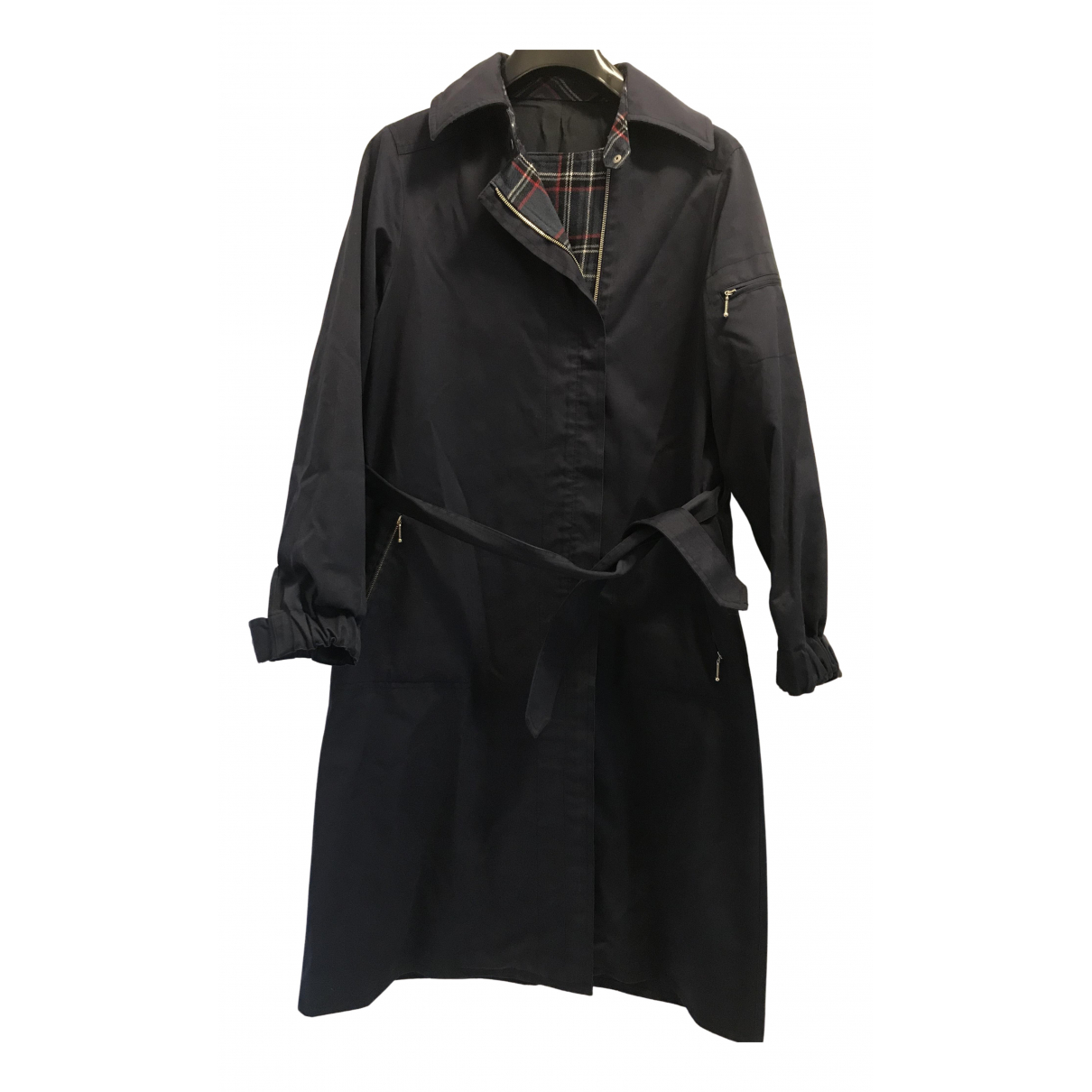 Non Signé / Unsigned N Navy Cotton coat for Women 38 FR