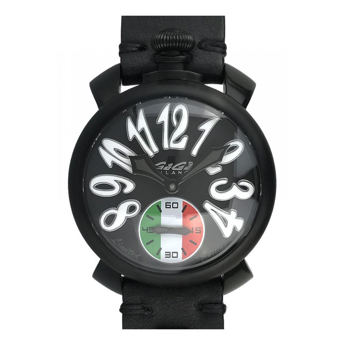 Non Signe / Unsigned \N Uhr in  Schwarz Stahl