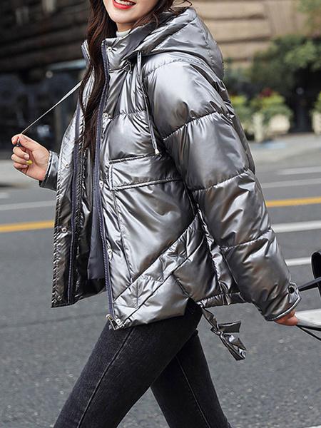 Milanoo de las mujeres Puffer abrigos corto de color rosa con capucha de la cremallera de manga larga capa ocasional espesa la ropa de abrigo