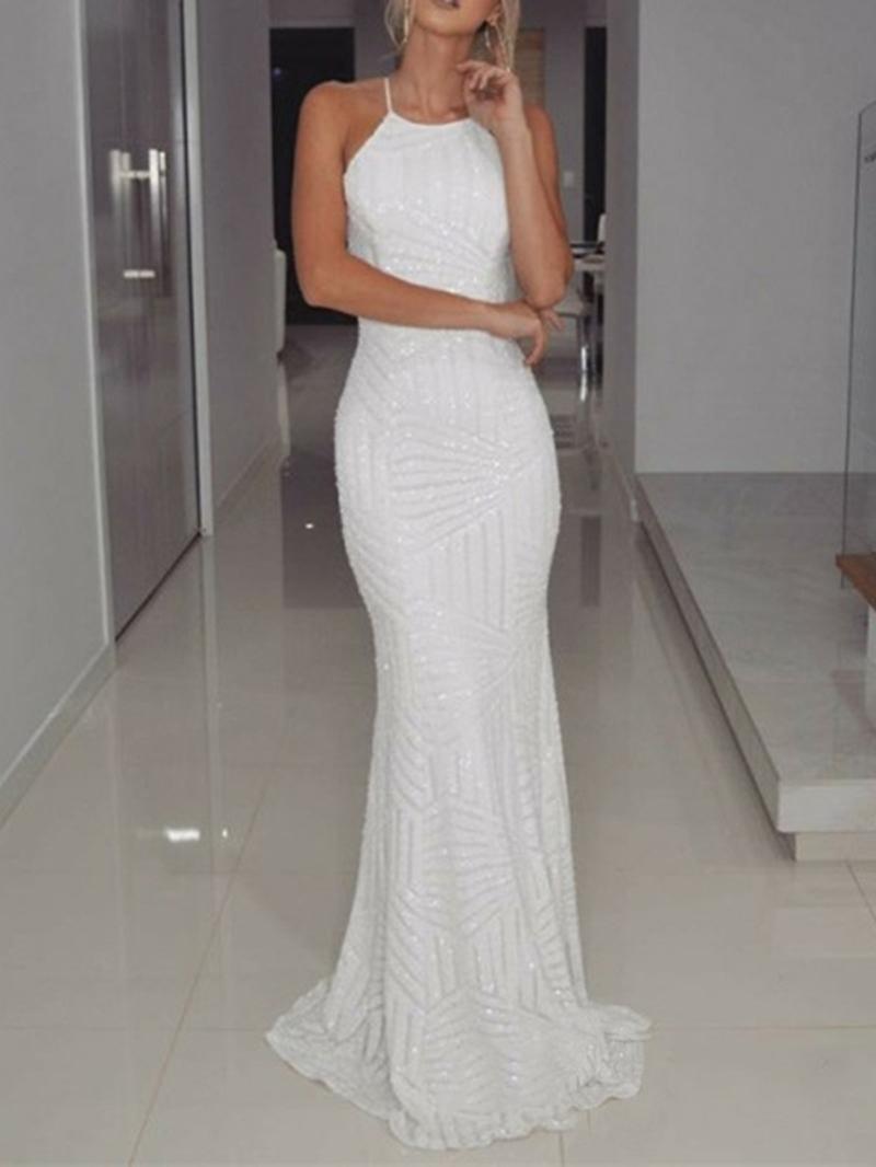 Ericdress Sheath White Sequins Evening Dress