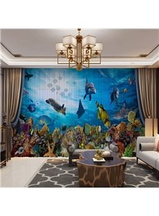 3D Colorful and Creative Undersea World Printed Decorative 2 Panels Custom Sheer