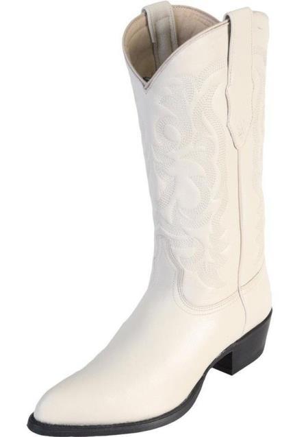 Los Altos Mens Genuine Elk Leather J Toe Handmade Winterwhite Boots