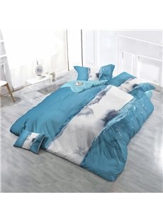 3D Lovers and Water Wave Wear-resistant Breathable High Quality 60s Cotton 4-Piece 3D Bedding Sets
