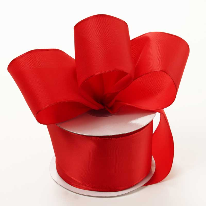 Grosgrain 2-1/2 X 25 Yards Red Trevia Taffeta Wired Ribbon by Ribbons.com