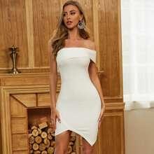 Sesidy One Shoulder Asymmetrical Hem Bandage Dress
