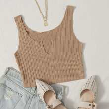 Notched Neck Rib-knit Tank Top