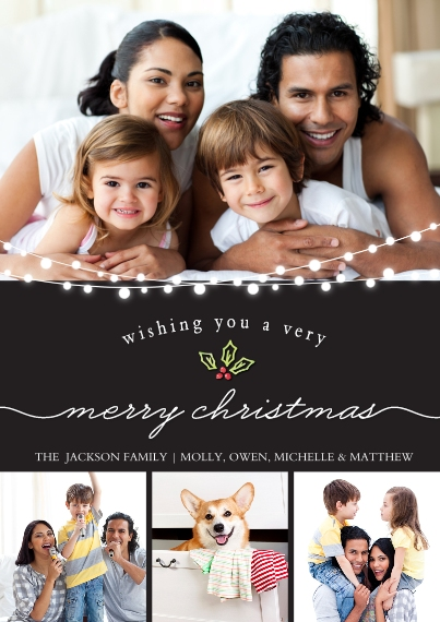 Christmas Photo Cards 5x7 Cards, Standard Cardstock 85lb, Card & Stationery -Christmas String of Lights by Tumbalina