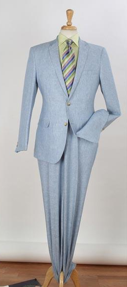Men's 2 Piece Single Breasted Side Vents Two Buttons Blue Linen Suit
