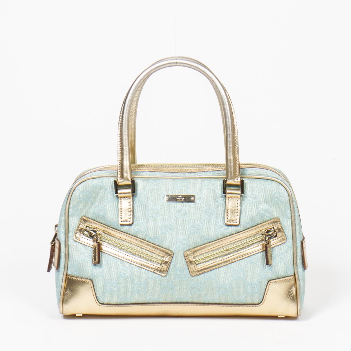 Gucci Boston Handtasche in  Blau Baumwolle