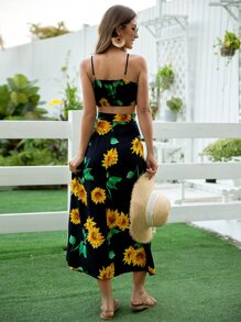 Sun Flower Print Cami Top & Split Thigh Skirt
