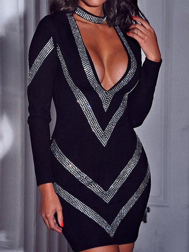 Ericdress Above Knee Long Sleeve Diamond Regular Women's Sexy Dress