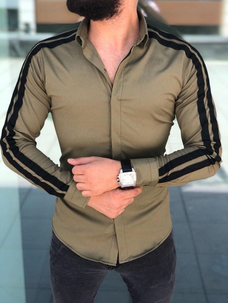 Ericdress Lapel Color Block Casual Single-Breasted Men's Slim Shirt