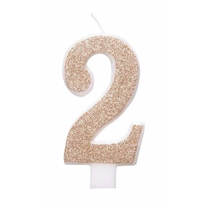 Rose Gold Glitz Glitter Numeral Birthday Candle - 2