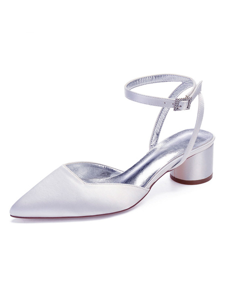 Milanoo Satin Wedding Guest Shoes Pointed Toe Slingbacks Chunky Heel Bridesmaid Shoes Bridal Shoes