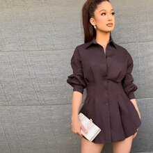 Collared Gathered Sleeve Buttoned Front Pleated Blouse
