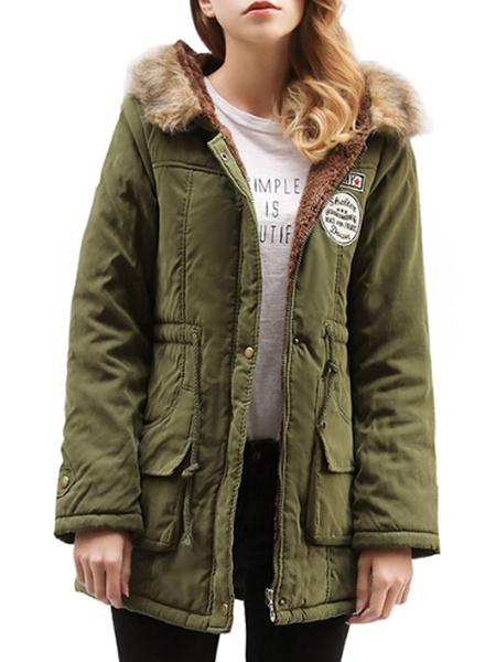 Milanoo Hooded Parka Coat Faux Fur Trim Pockets Drawstring Hunter Green Winter Coat