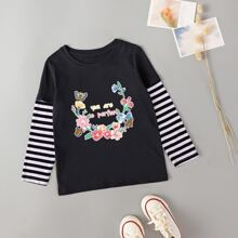 Toddler Girls Floral & Slogan Graphic 2 In 1 Tee