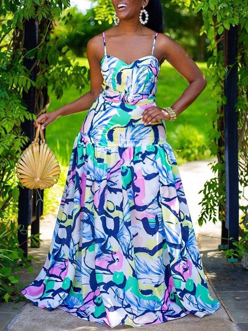 Ericdress Floor-Length Print Sleeveless Spaghetti Strap Sweet Dress