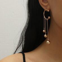 Ohrringe mit rundem Ball Quasten Dekor