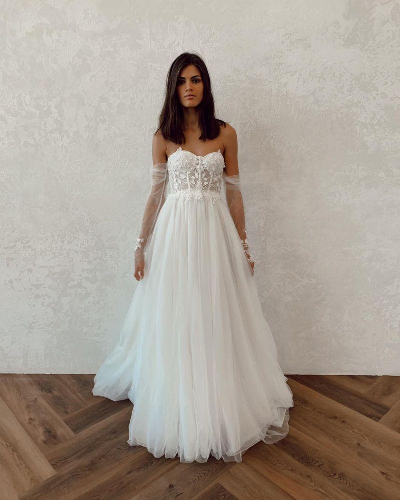 Schicke traegerlose Tuell Langarm Brautkleider | A-Linie Sweetheart Lace Brautkleider